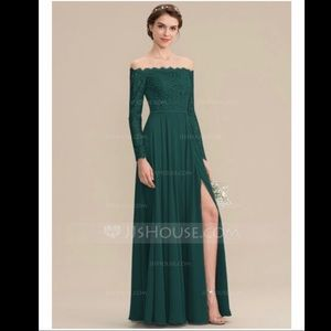 Green Chiffon Lace Bridesmaid Dress